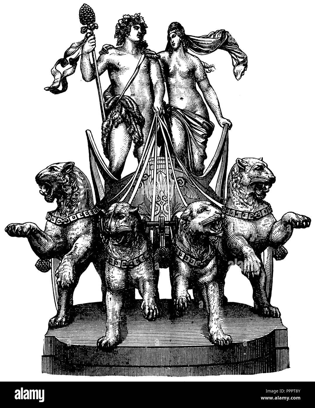 Dionysus and Ariadne. Quadriga at the Dresdner Hoftheater. By Johannes Schilling, Johannes Schilling Stock Photo