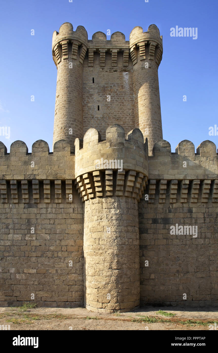 Quadrangular castle in Mardakan. Azerbaijan Stock Photo