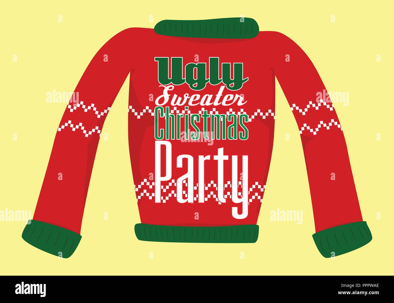 1678cb1a5 Ugly Christmas Sweater Party postcard or invitation Stock Vector Art ...