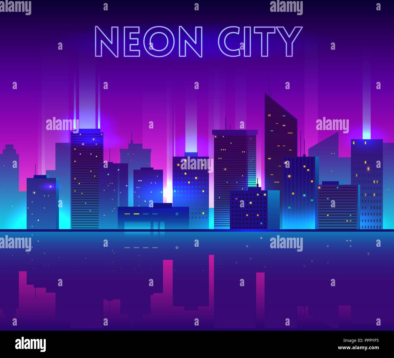 Vector night city illustration with neon glow, vivid colors and reflection - Stock Vector
