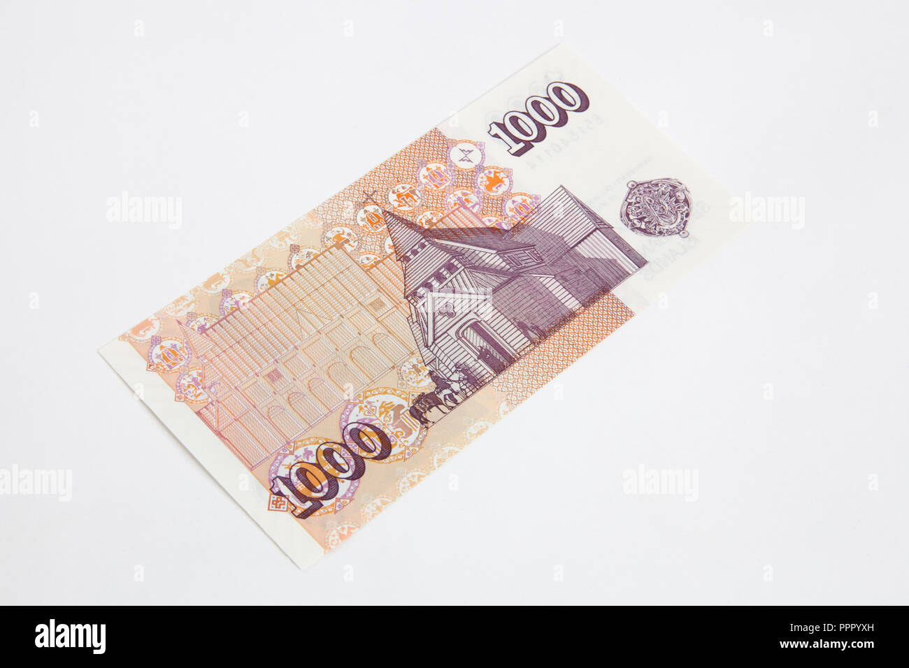 The back of a 1000 Icelandic Krona bank note - Stock Image