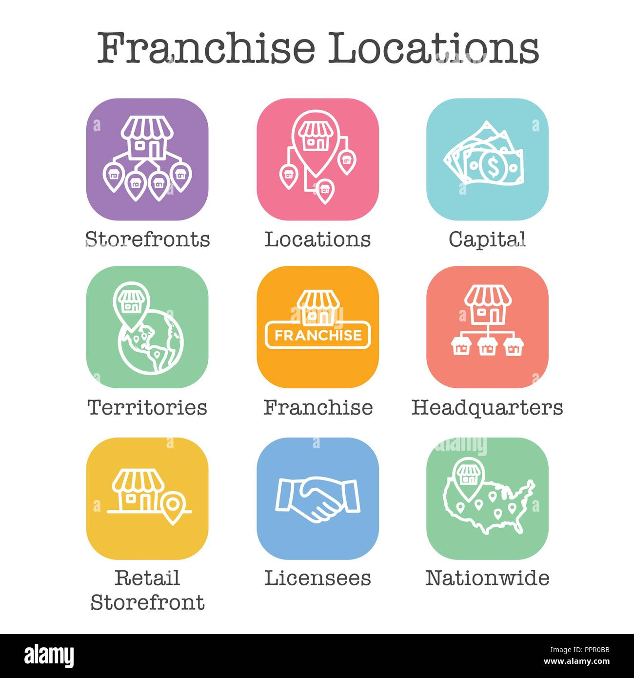 Franchise Icon Set w Home Office, corporate Headquarters and Franchisee Icon Images - Stock Image