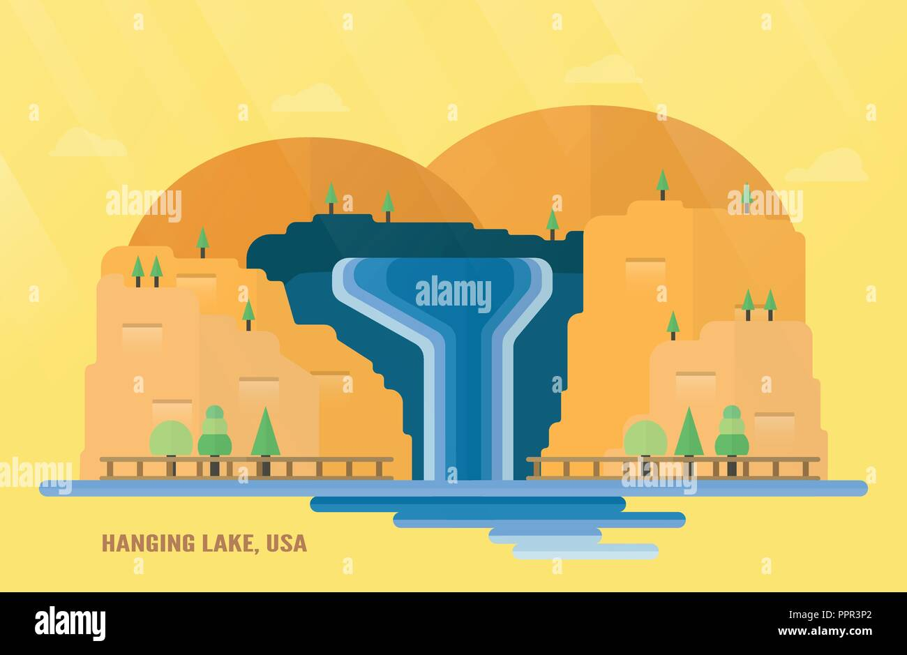 U.S. State of Colorado landmarks for travelling with Hanging Lake, water fall and trees. Vector illustration with copy space and flare of light on yel - Stock Vector