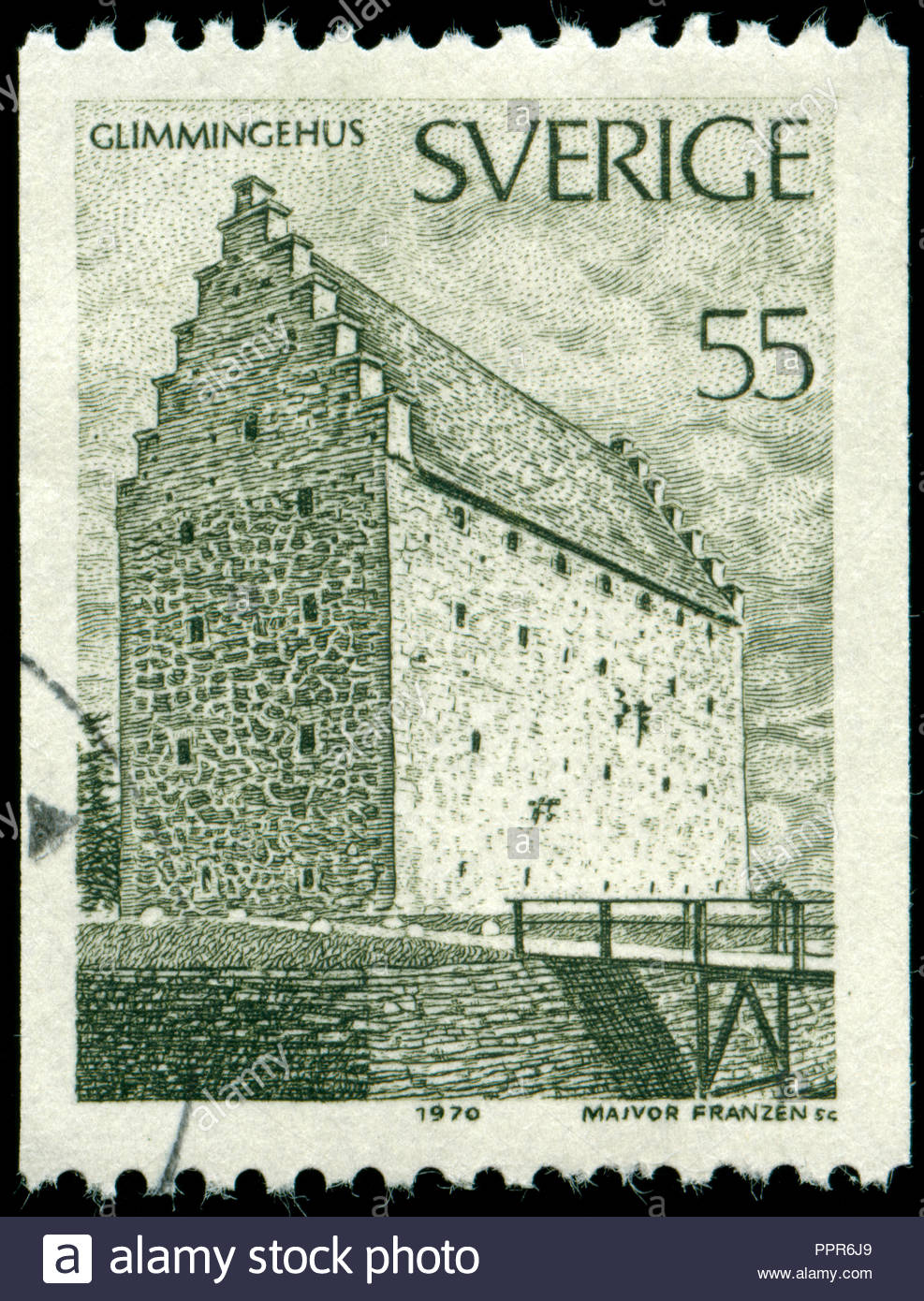 Postmarked stamp from Sweden in the Buildings series issued in 1970 - Stock Image