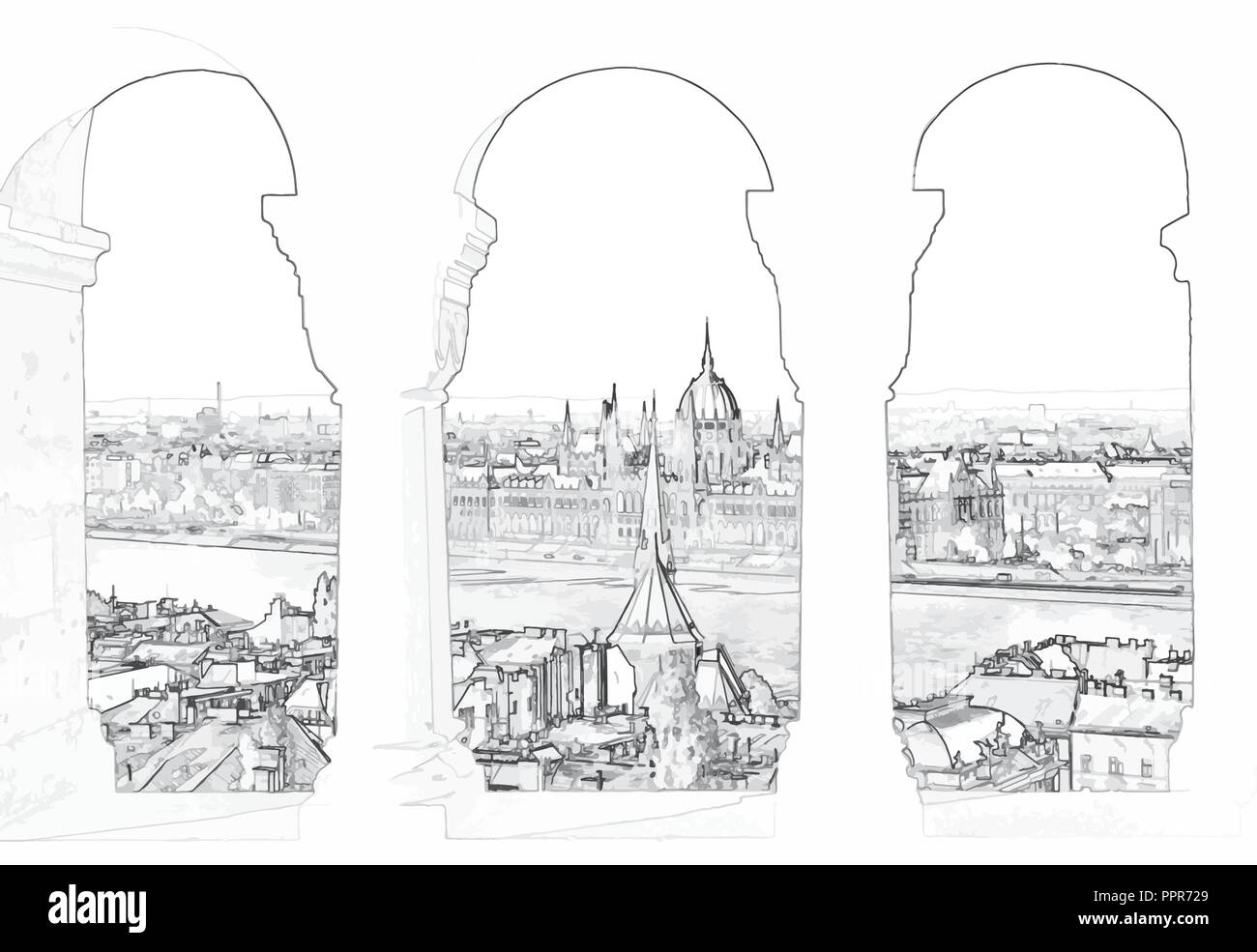 Vector illustration of Budapest and hungarian parliament - Stock Vector