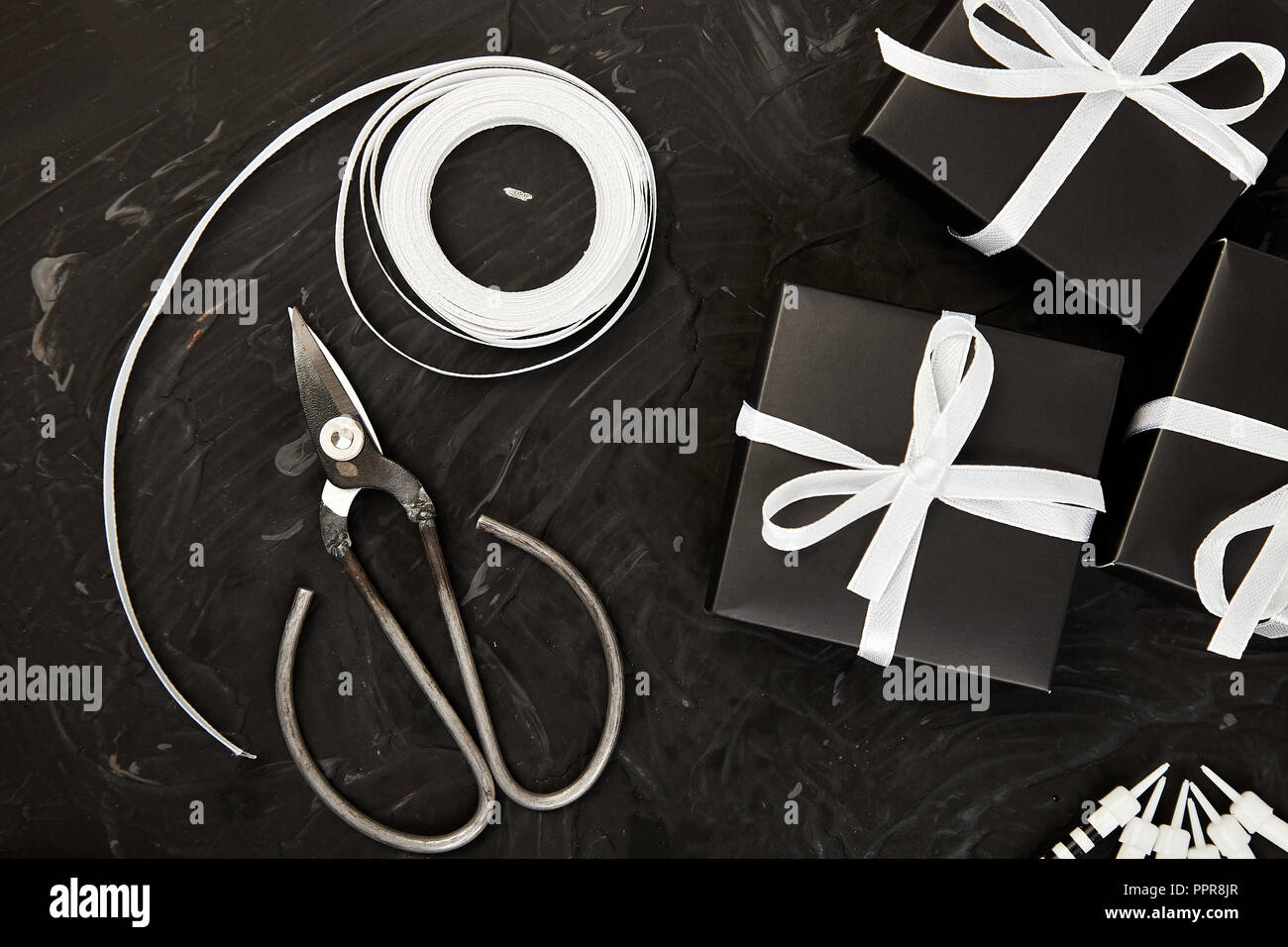 Wrapping Modern Christmas Or Birthday Gifts Presents Gift Boxes In Black And White Color Flat Lay Top View Scissors