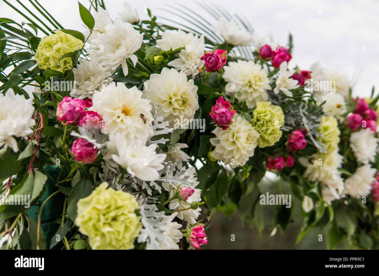 Flower as a decoration on a wedding floral wooden arch with yellow flower as a decoration on a wedding floral wooden arch with yellow cloth and fresh white flowers with green leaves on a rustic wedding ceremony mightylinksfo