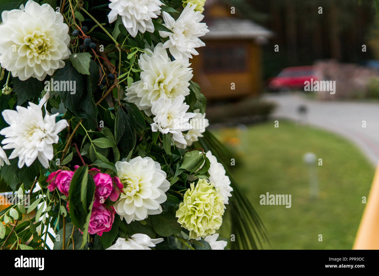 Flower As A Decoration On A Wedding Floral Wooden Arch With Yellow