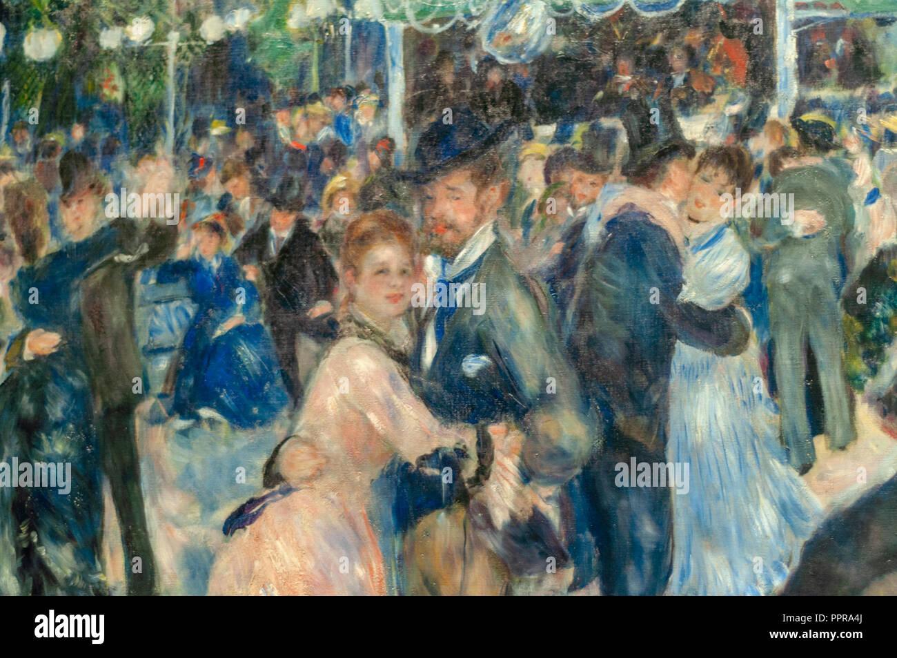 Pierre-Auguste Renoir - Bal du moulin de la Galette (DETAIL). 1876, Musée d'Orsay in Paris Stock Photo