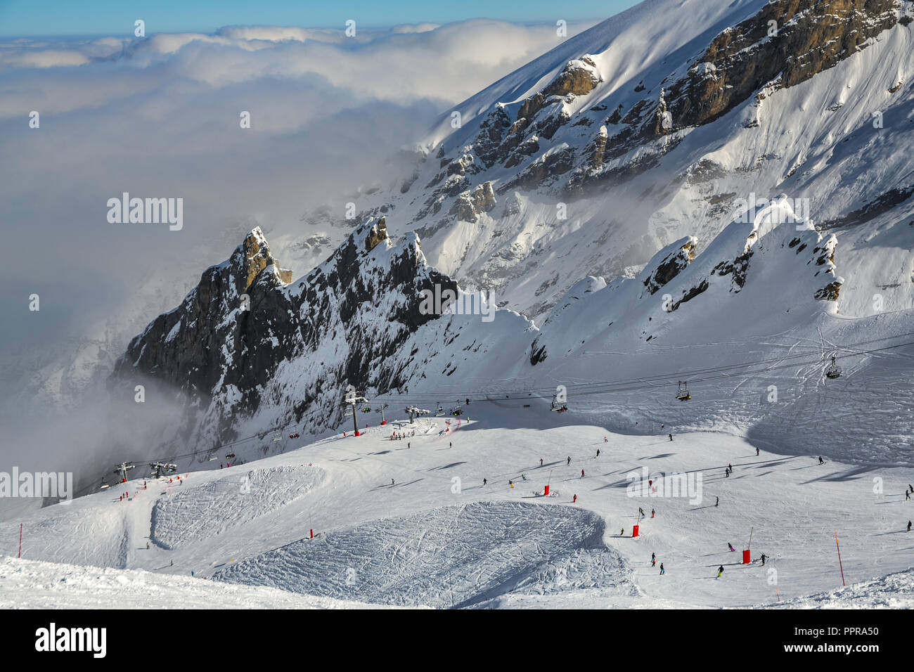 Gourette ski resort, Pyrenees Atlantiques, Aquitaine region, Ossau Valley, France - Stock Image