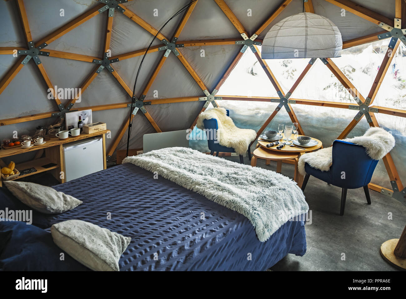Dome Geodesique accommodation. Gourette ski resort, Pyrenees Atlantiques, Aquitaine region, Ossau Valley, France - Stock Image
