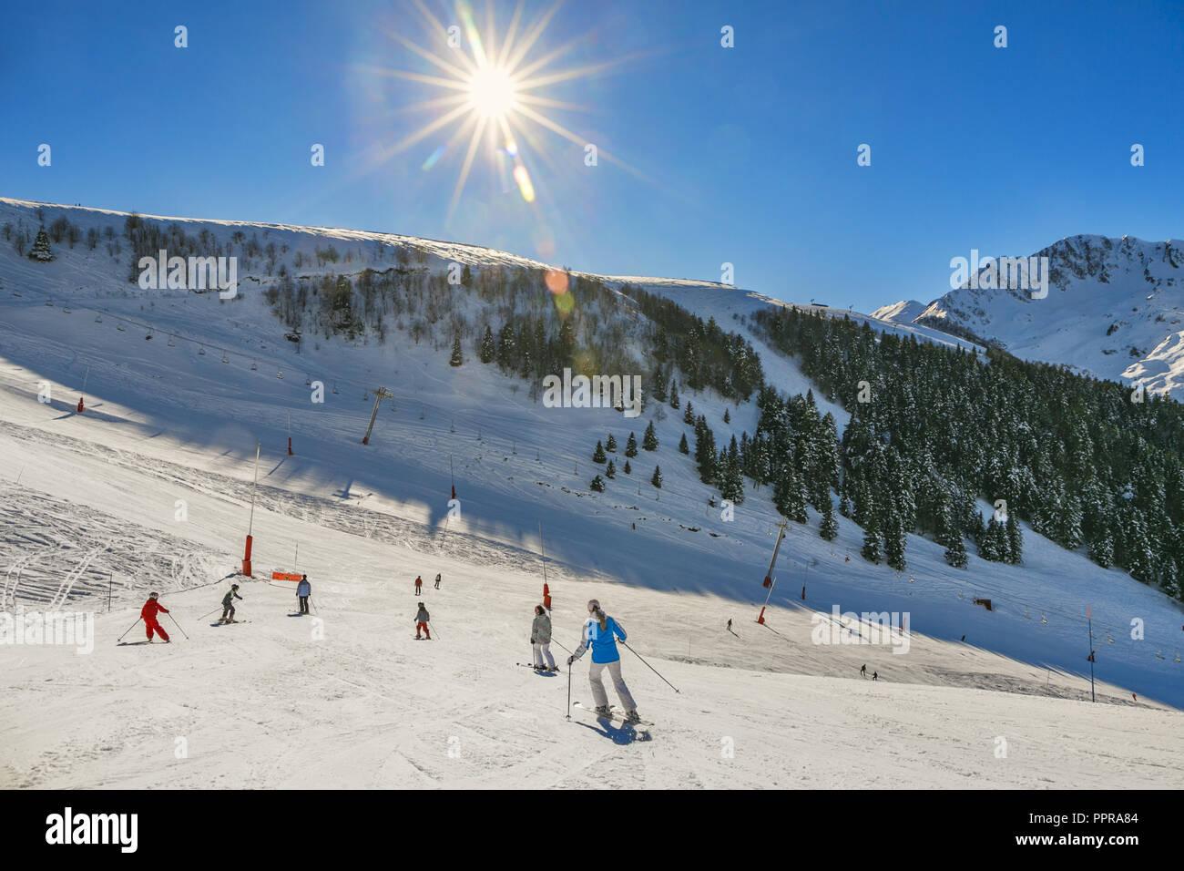 Luchon- Superbagneres ski resort. Bagneres de Luchon. Haute-Garonne. Midi Pyrenees. France. - Stock Image