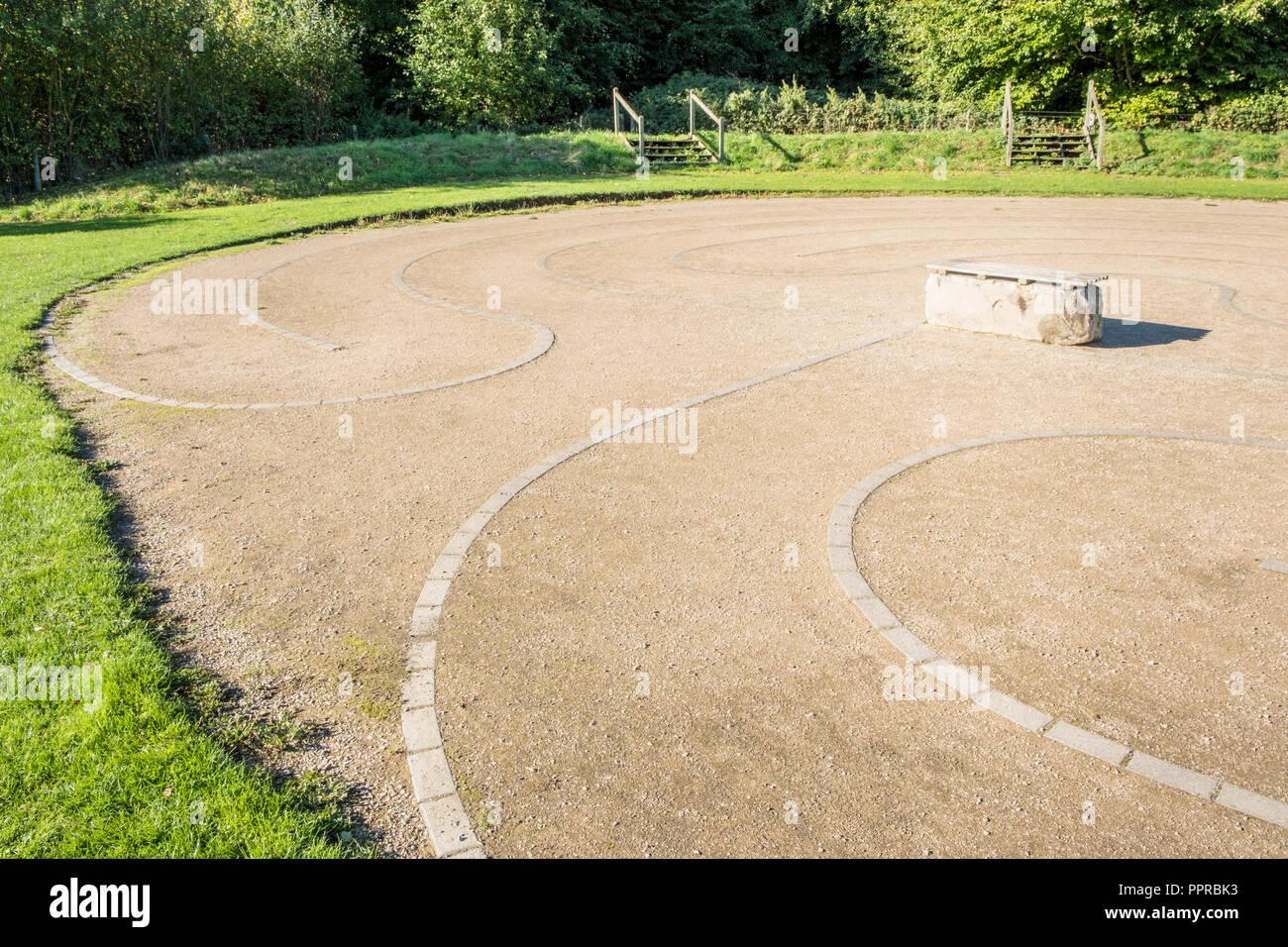 Labyrinth, Rushcliffe Country Park, Ruddington, Nottinghamshire, England, UK - Stock Image