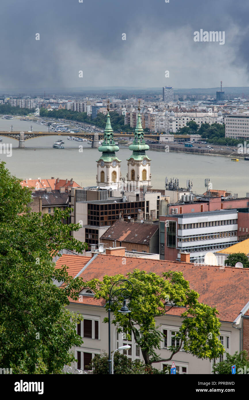 Panoramic scene from Fisherman's Bastion in Budapest, Hungary - Stock Image
