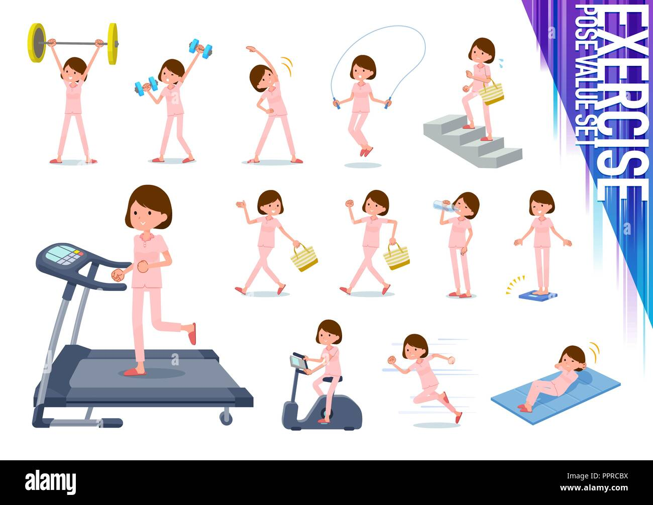 A set of young women on exercise and sports.There are various actions to move the body healthy.It's vector art so it's easy to edit. - Stock Vector