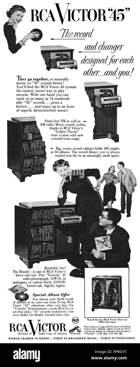 1952 U.S. advertisement for RCA Victor 45 rpm 7 inch singles and record player. - Stock Image