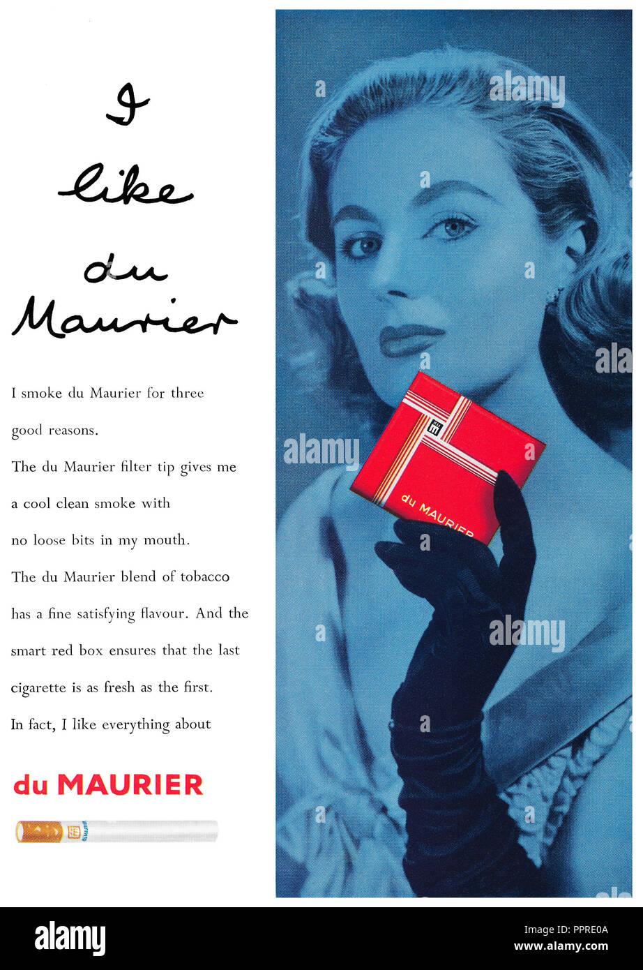 1957 British advertisement for du Maurier cigarettes. - Stock Image