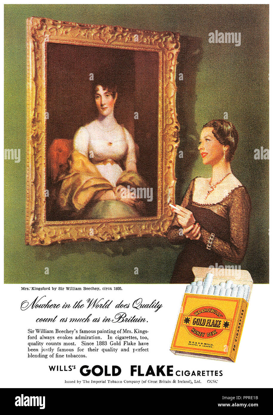 1949 British advertisement for Will's Gold Flake cigarettes. - Stock Image