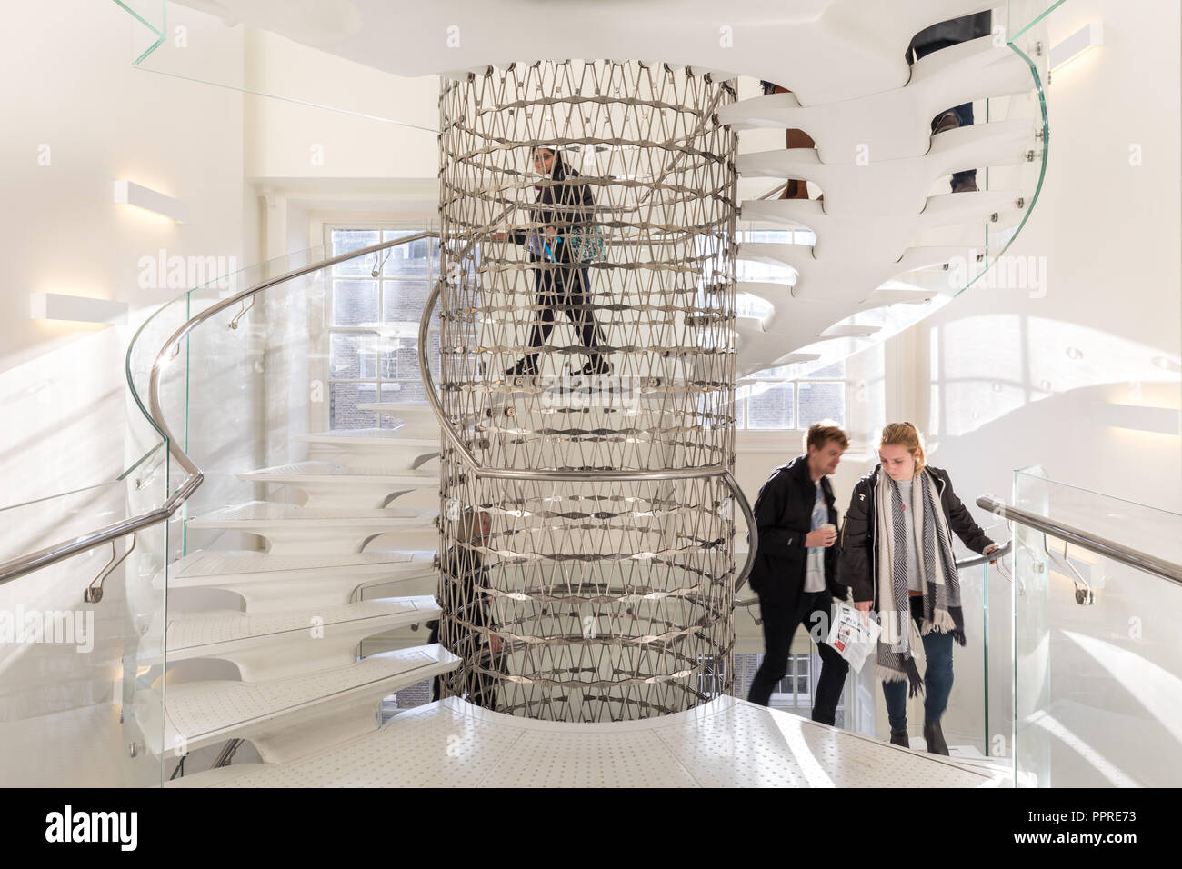 The Miles Stairs, Elegant Contemporary Steel Mesh Circular Staircase With  Transparent Balustrade By Eva Jiricna Architects, Somerset House, London, UK
