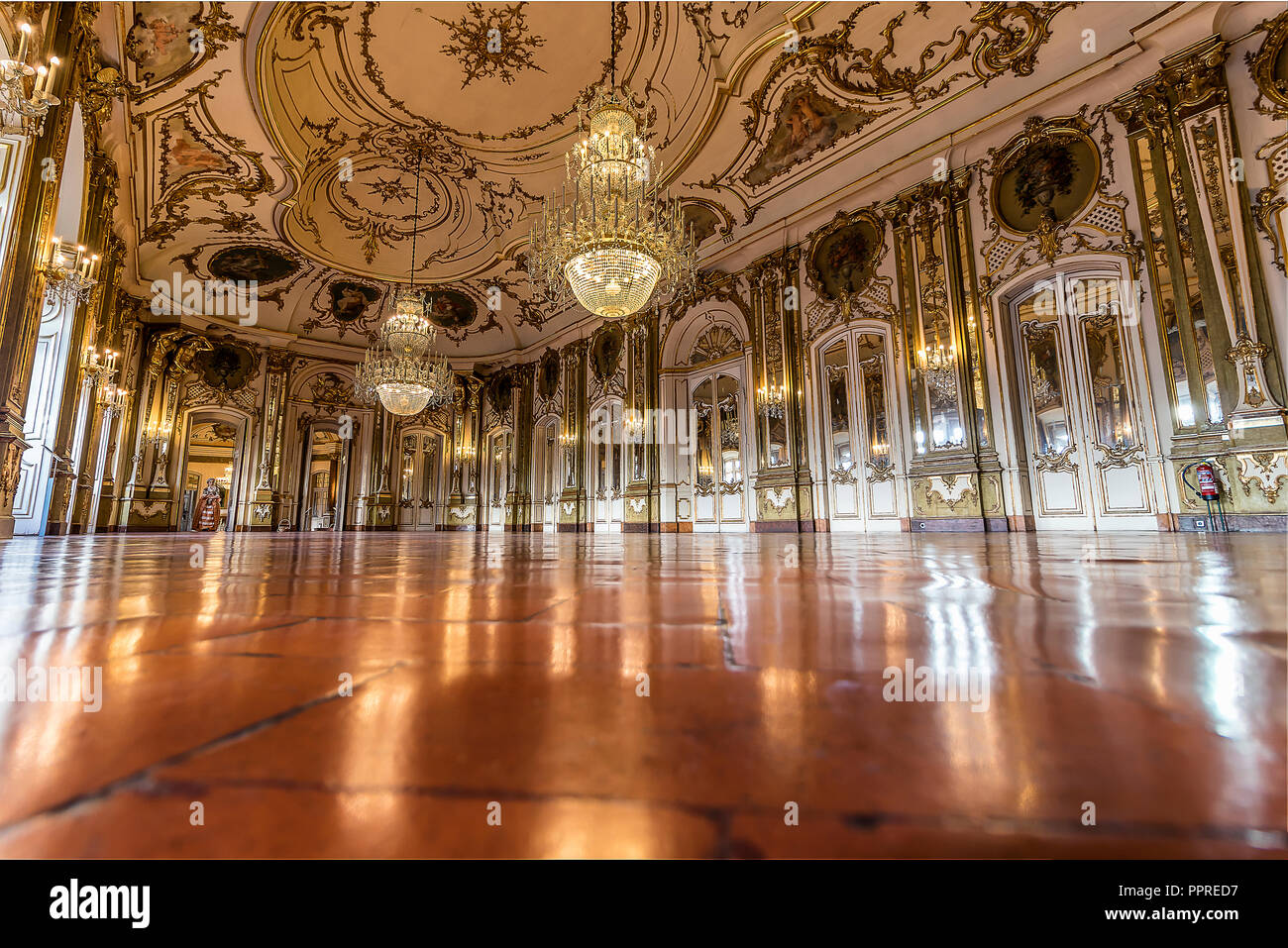Queluz, Portugal - December 9, 2017: The Ballroom, rich decorated of Queluz Royal Palace. Formerly used as the Summer residence by the Portuguese roya Stock Photo