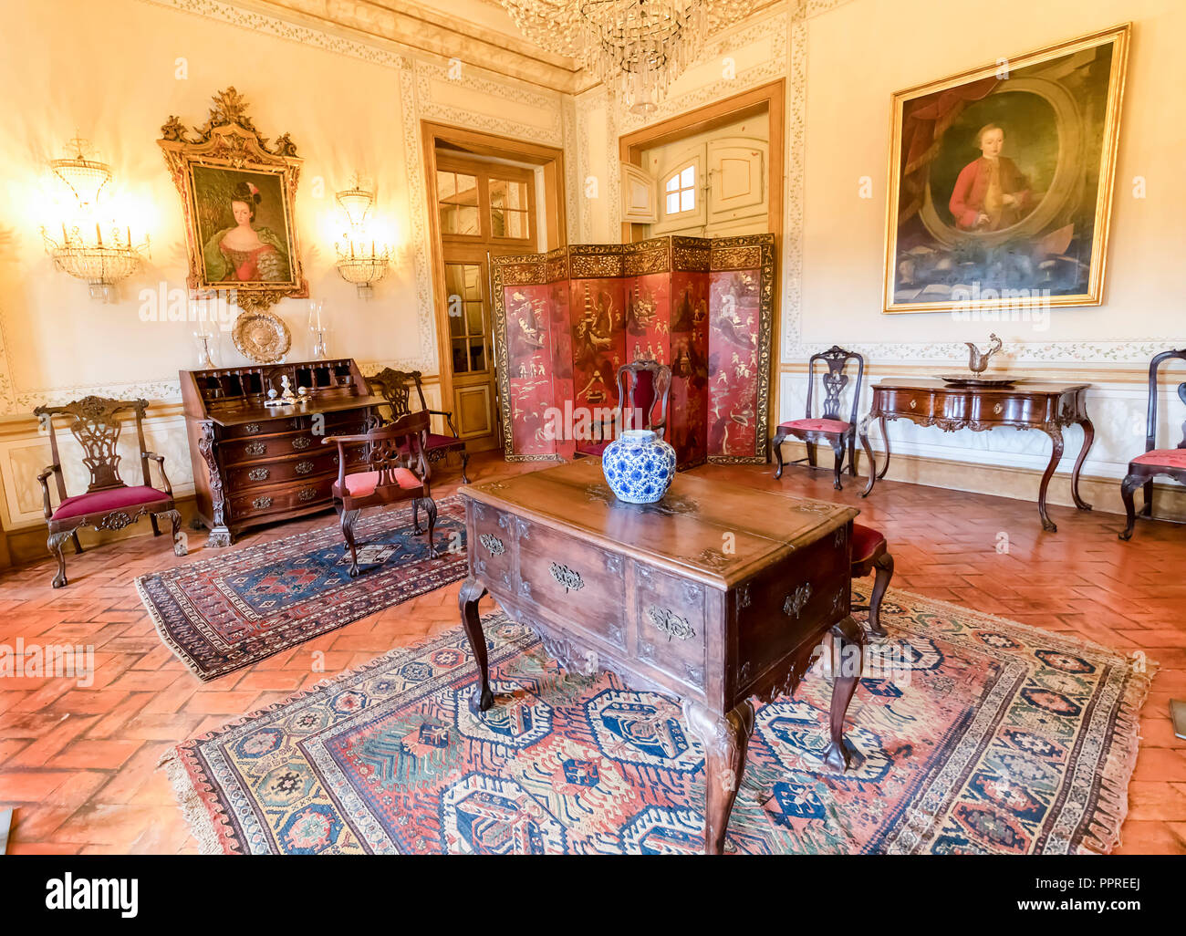 Queluz, Portugal - December 9, 2017: Room Inside of rich decorated Queluz Royal Palace. Formerly used as the Summer residence by the Portuguese royal  Stock Photo