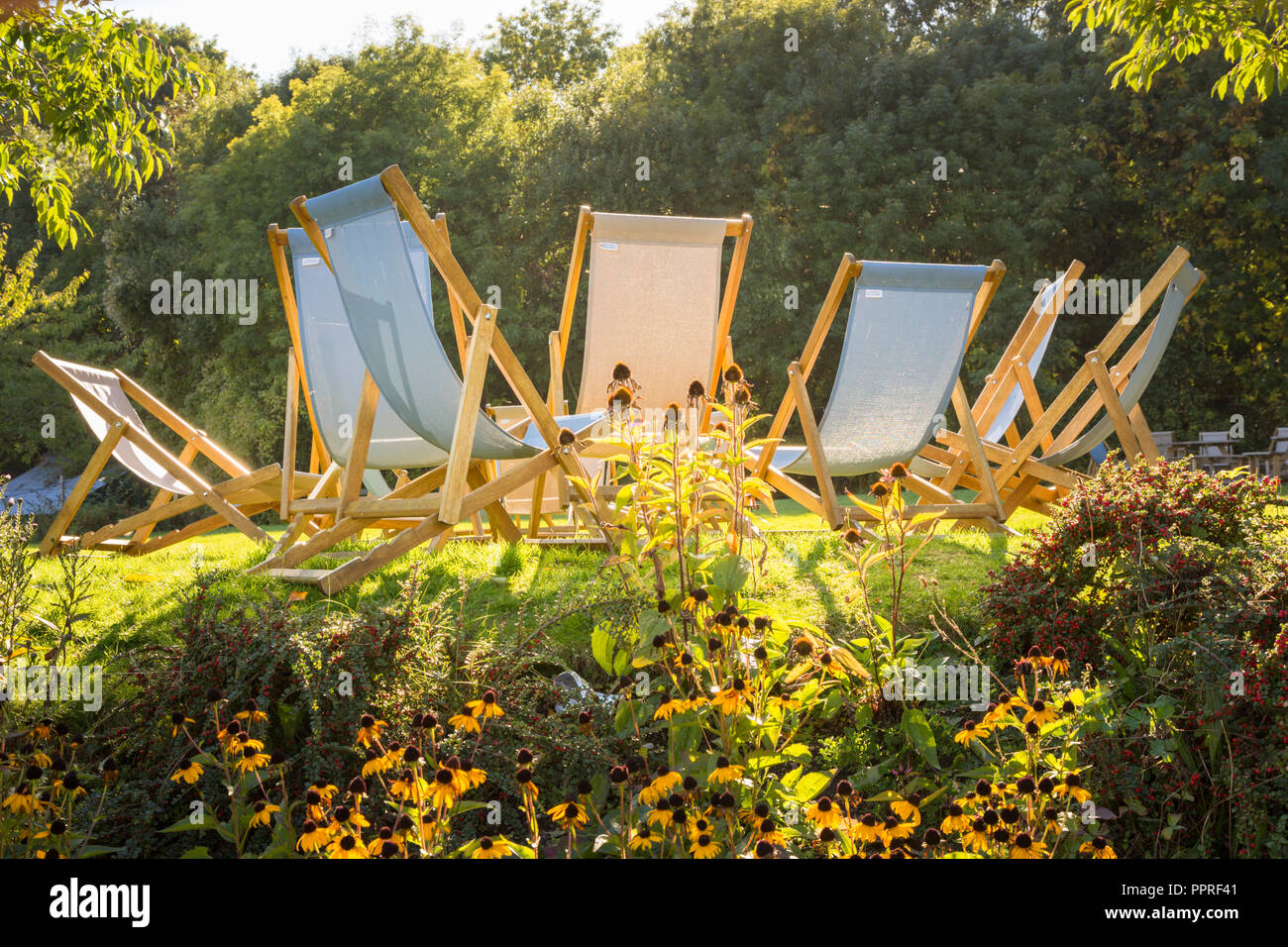 Eight empty deck chairs in a circle in warm sunshine UK - Stock Image