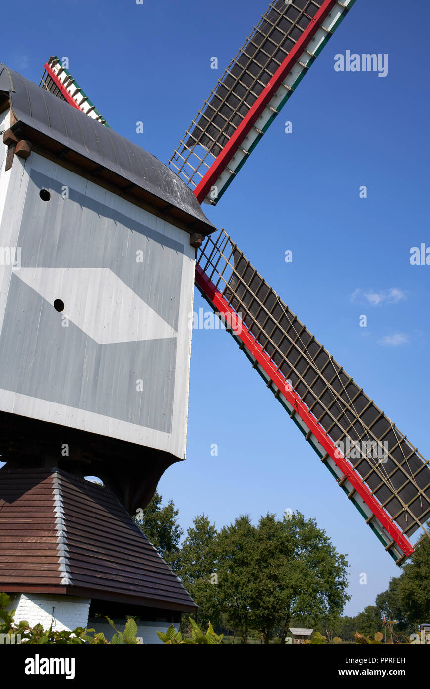 Old wooden windmill in Lommel, Belgium - Stock Image