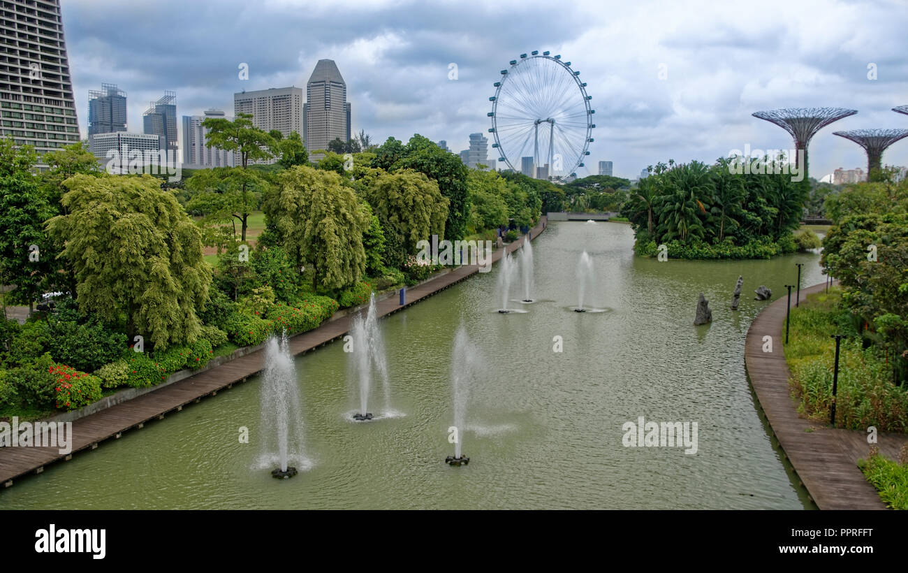 Singapore, Singapore- August 07, 2018: View of Dragonfly Lake Stock Photo