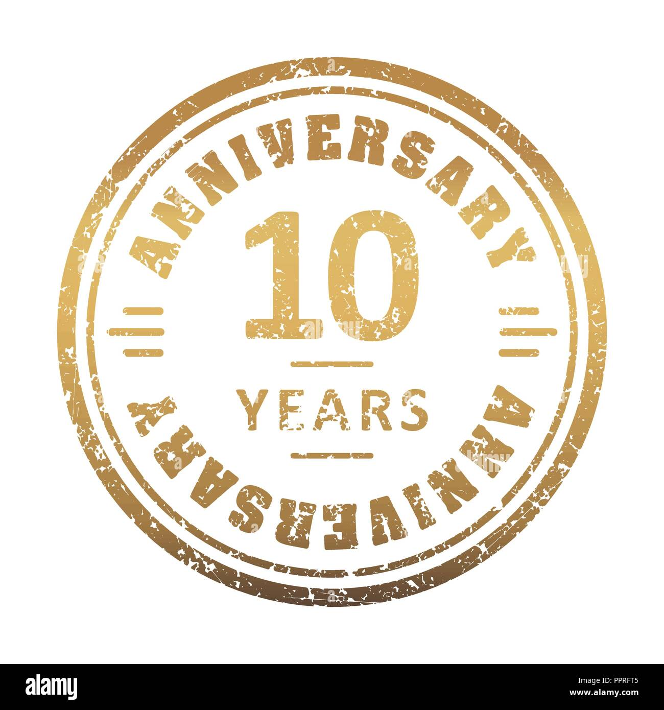 Vintage anniversary 10 year round grunge round stamp. Retro styled vector illustration. - Stock Vector