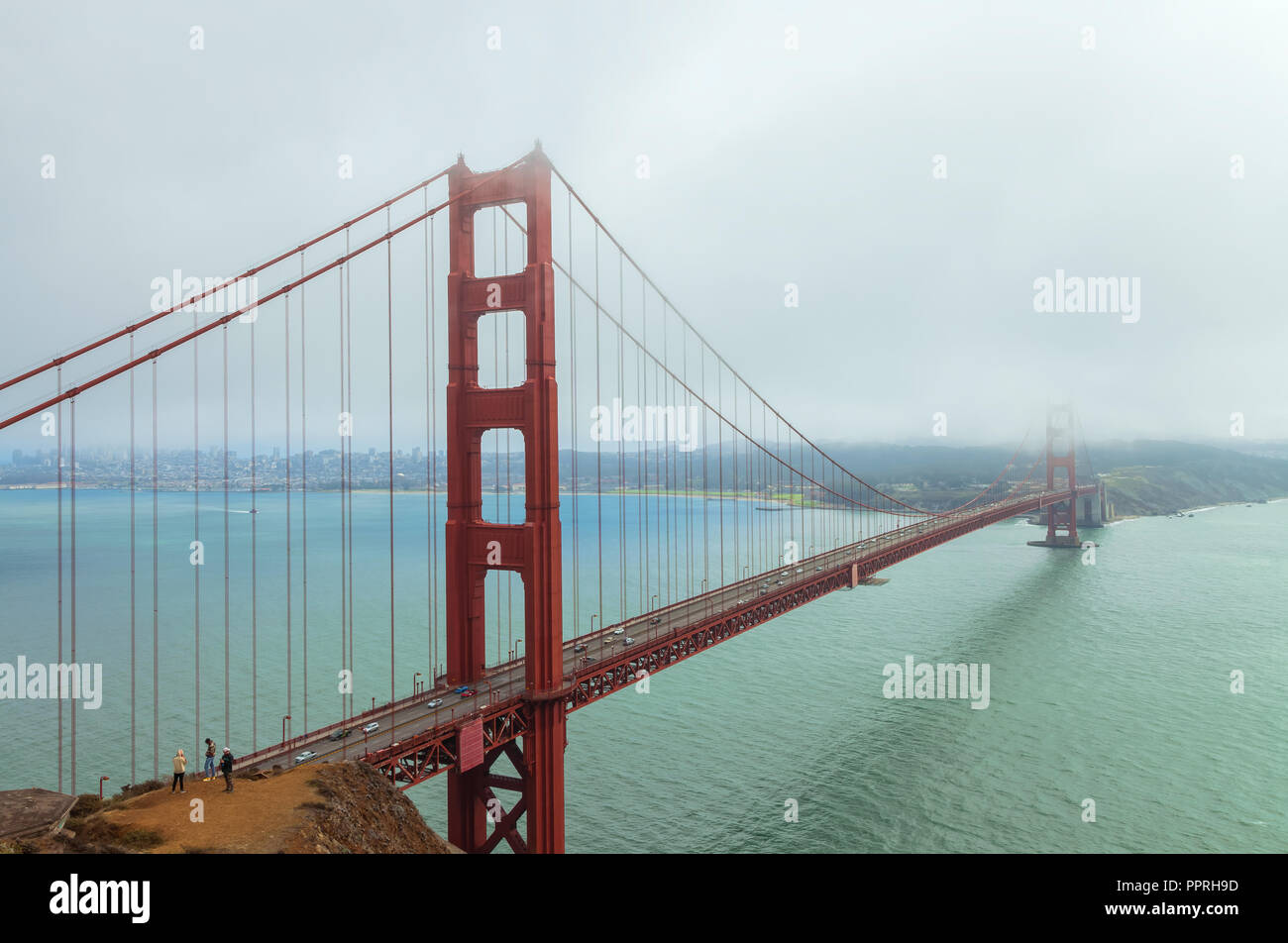 Golden Gate Bridge on an overcast morning, San Francisco, California, United States - Stock Image