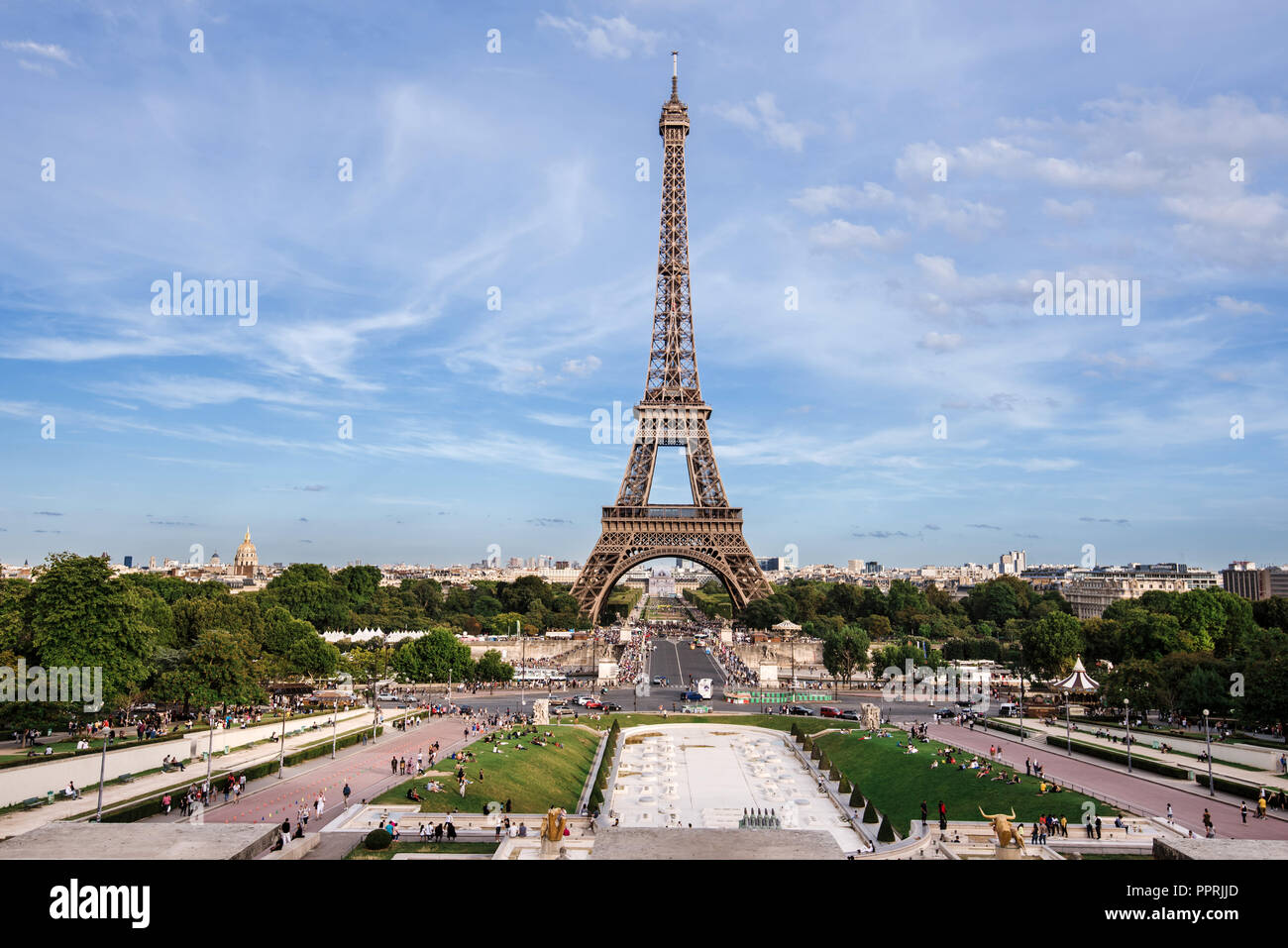 View of Eiffel Tower from Trocadero - Stock Image