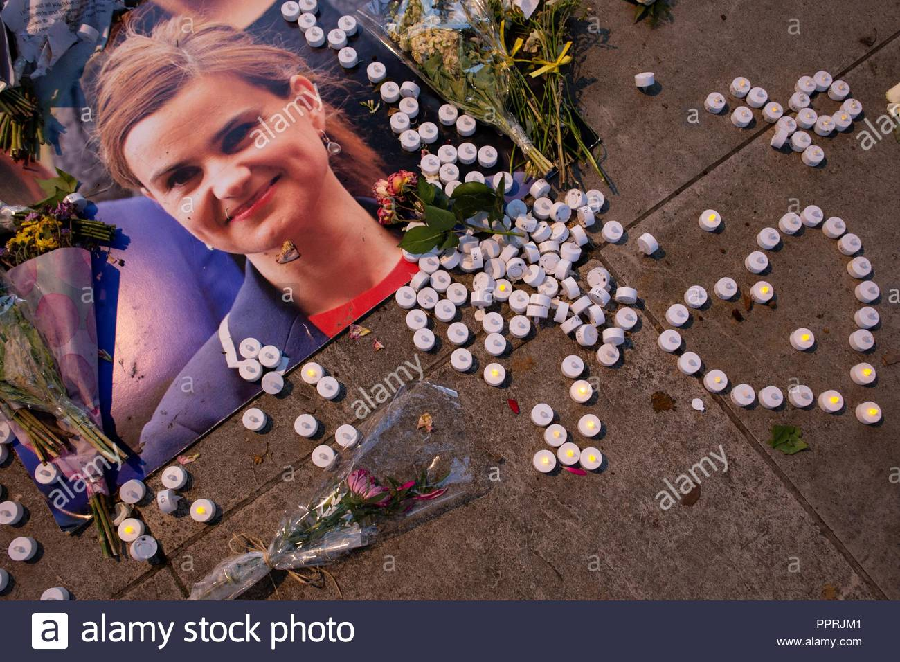 Part of the vigil set up to murdered MP Jo Cox at Westminster in 2016 - Stock Image