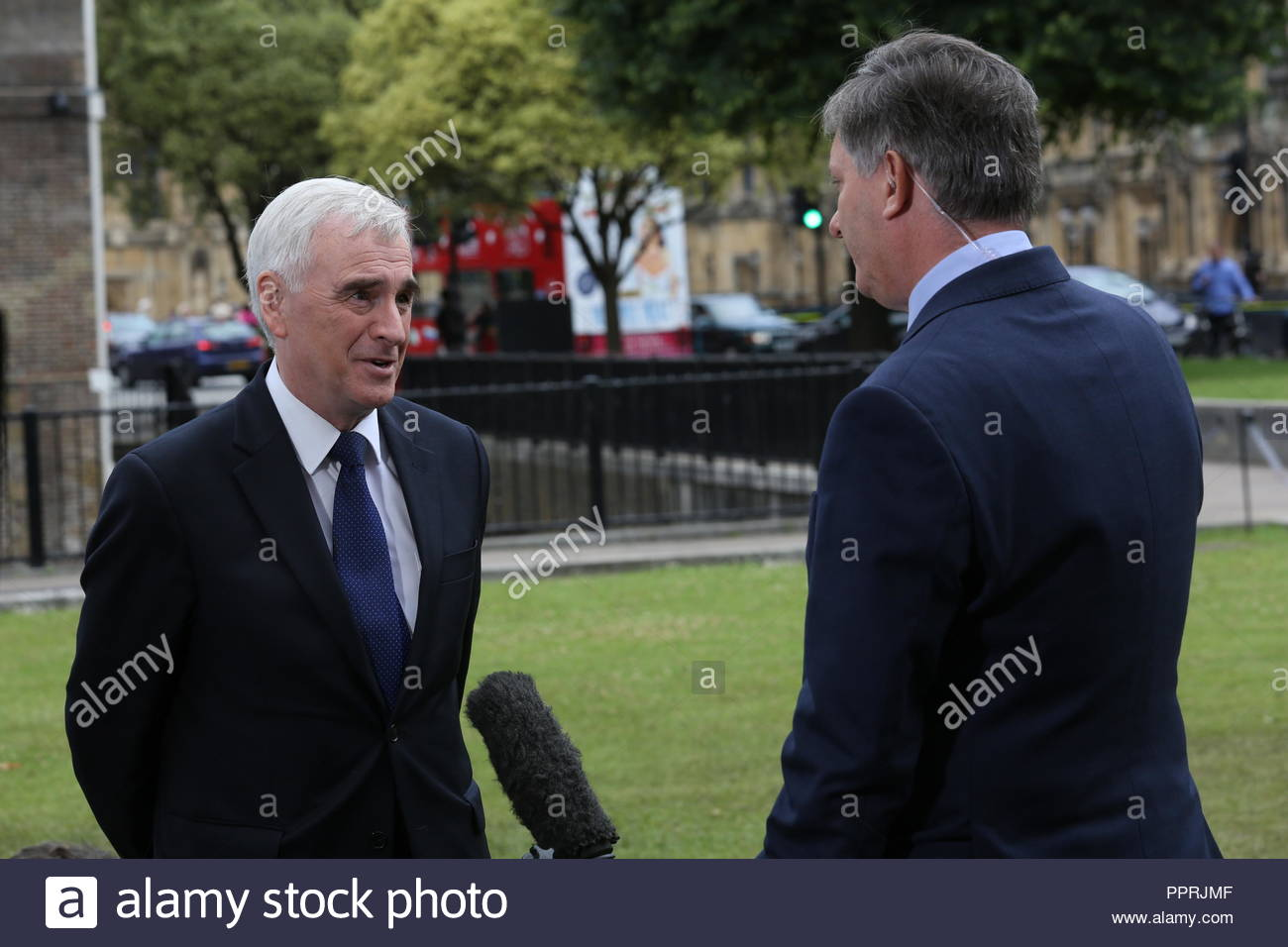 John McConnell of Labour being interviewed by Simon McCoy the morning after the referendum result in June 2016 - Stock Image