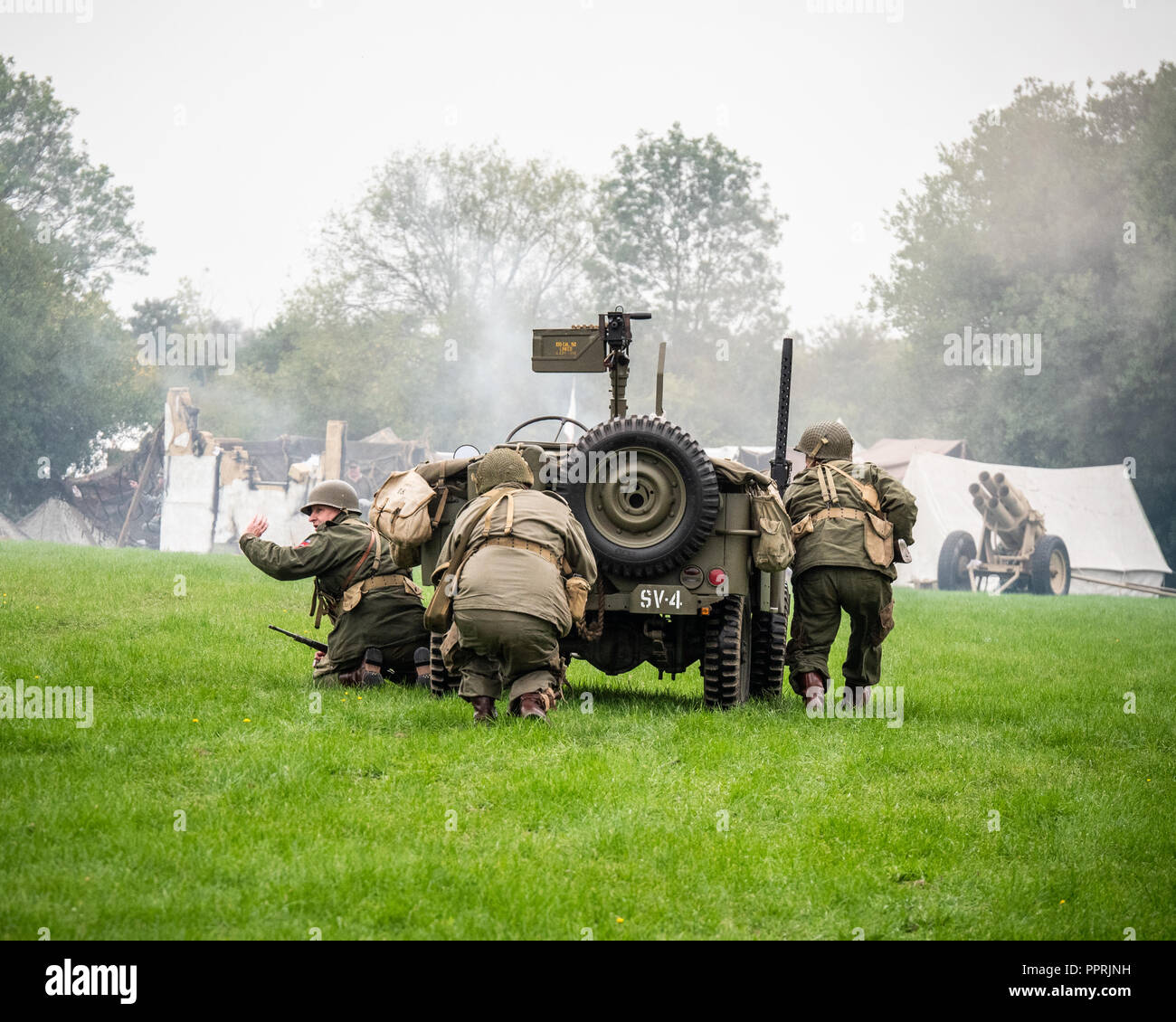 30fccd5a959 Crowle Ealand North Lincolnshire England 1940 s event September 2018.  Action during allied versus axis WW2