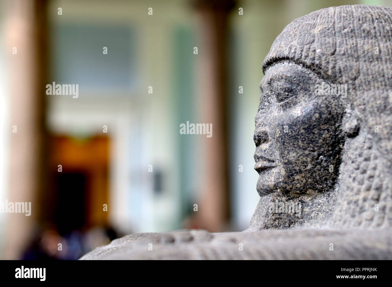 Statue of Roy - high priest of Amun-Ra in Thebes. British Museum, Bloomsbury, London, England, UK. - Stock Image