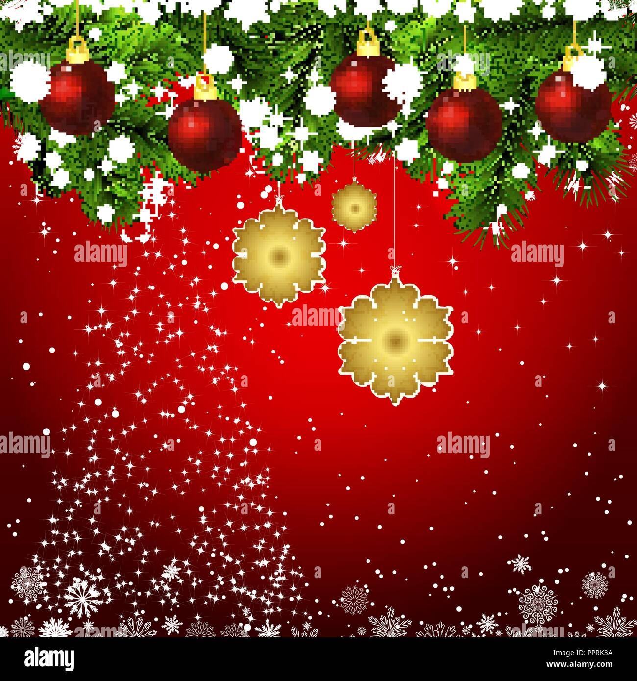vector new year design background template card whit red christmas balls on the green branches silhouette of a christmas tree made of stars fallin