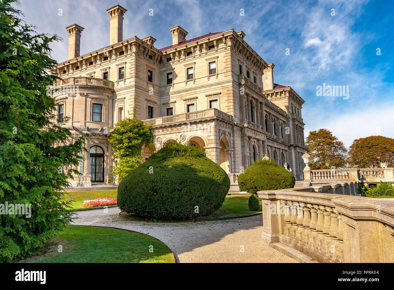 The Breakers Mansion one of the magnificent Newport Rhode Island  Mansions ,Newport, Rhode Island , USA - Stock Image