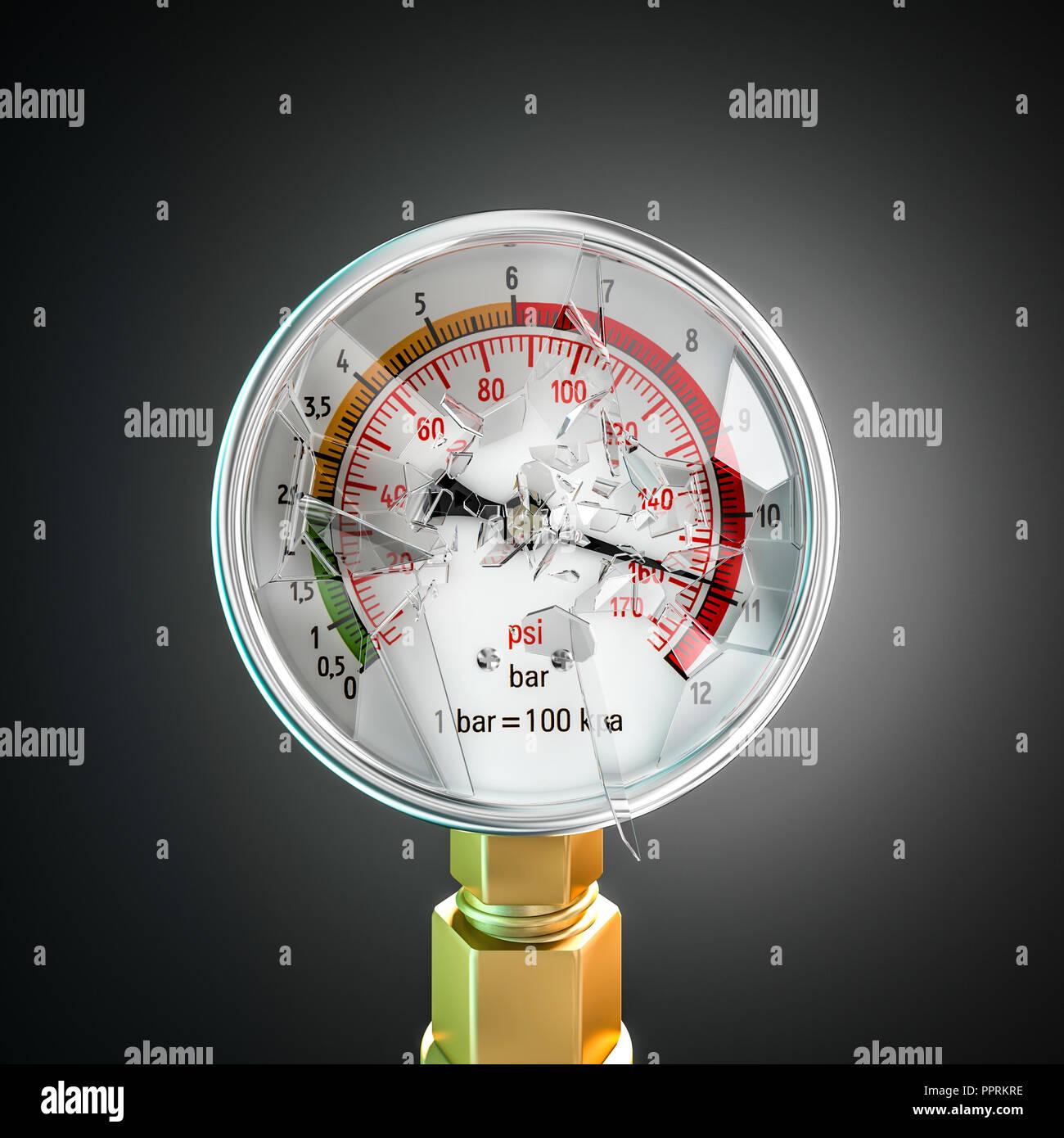 explosion of pressure gauge glass 3d rendering image - Stock Image