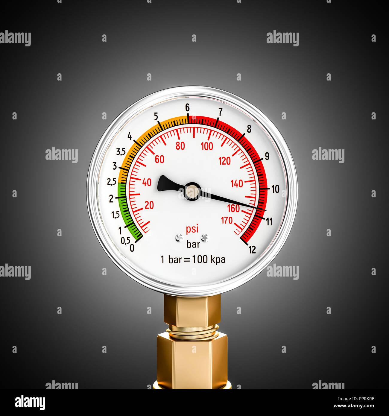 pressure gauge 3d rendering image - Stock Image