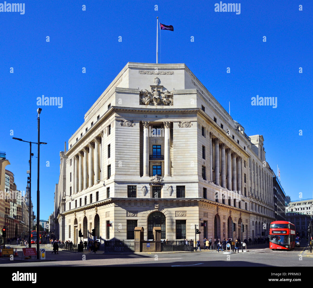 NatWest Bank headquarters in the City of London, England, UK. On the corner of Princes Street and Mansion House Street - Stock Image