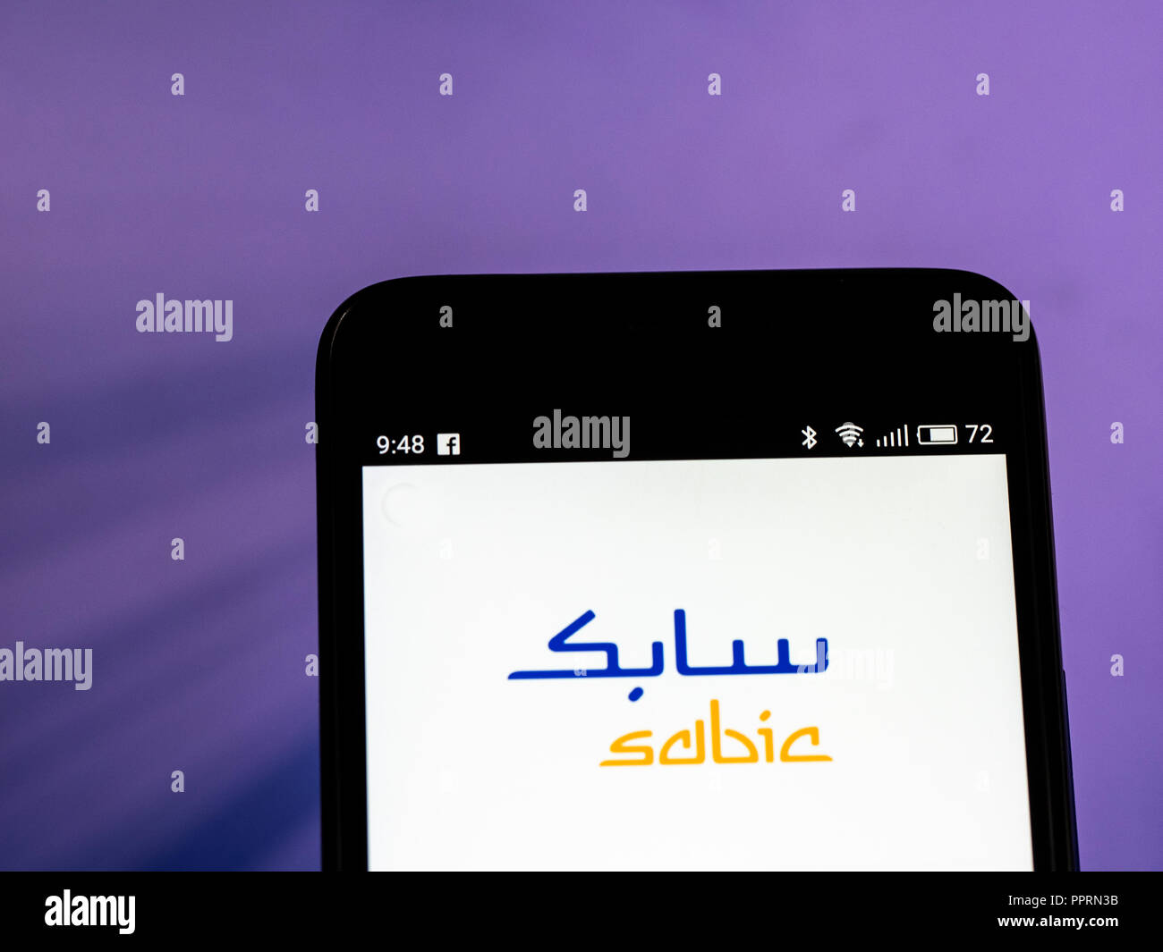 SABIC logo seen displayed on smart phone  SABIC is a Saudi