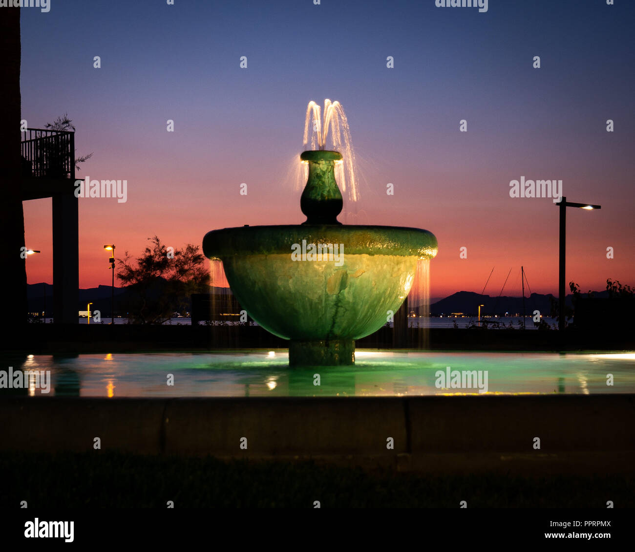 Water fountain on the beachfront at Can Picafort, Mallorca, Spain. - Stock Image
