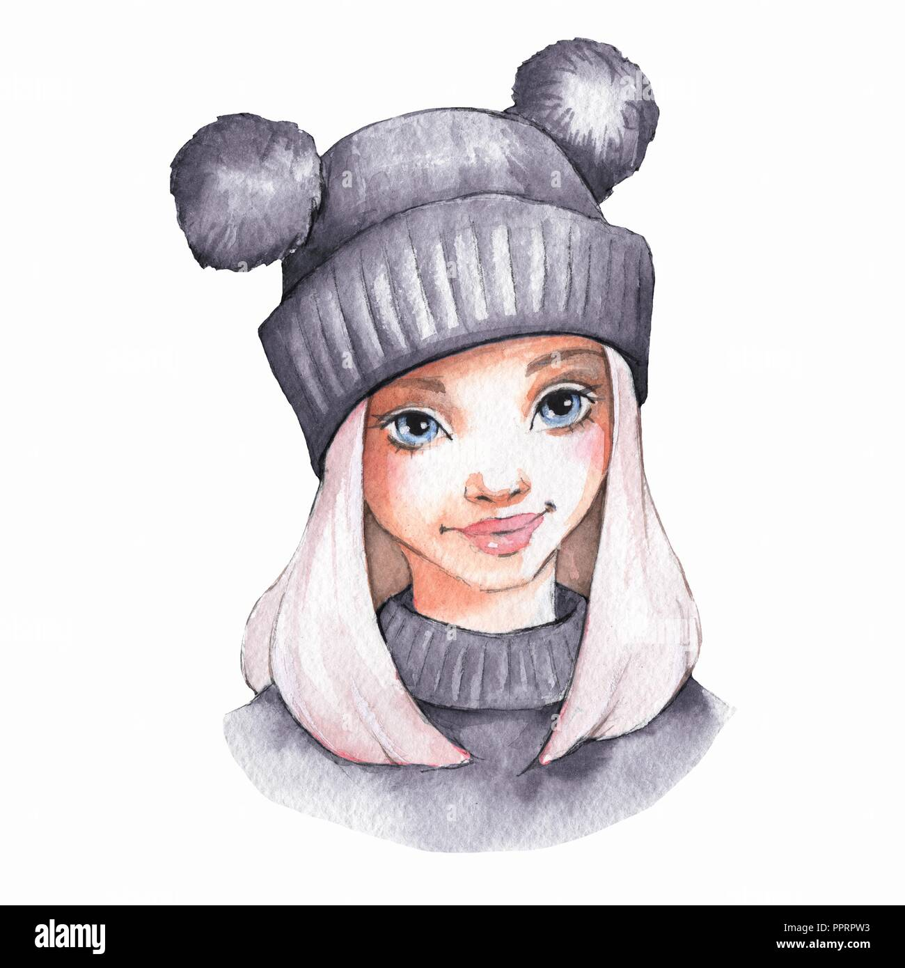 Cute Cartoon Girl In Warm Hat Watercolor Illustration Stock Photo