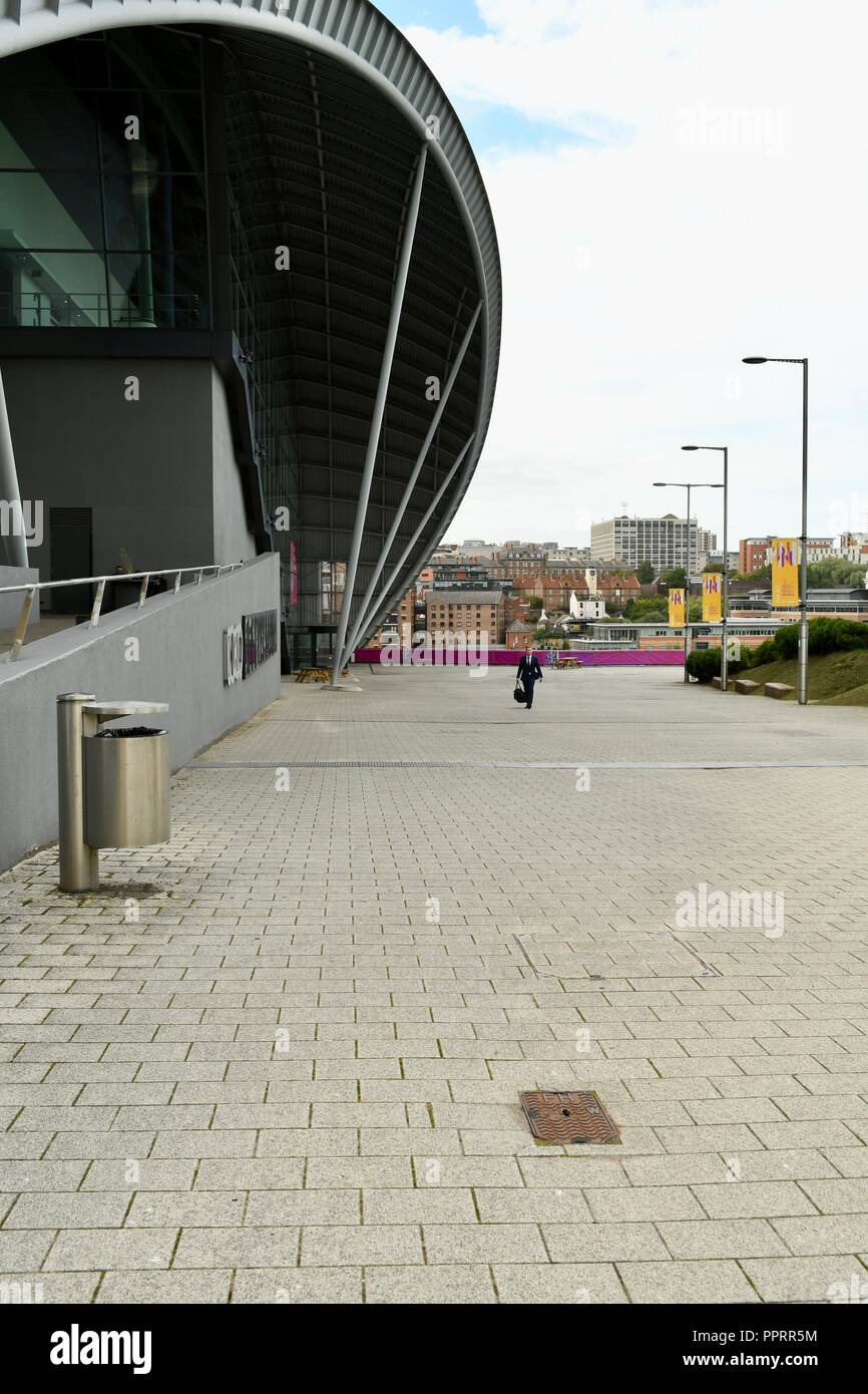 East entrance wall of the Sage in Gateshead - Stock Image