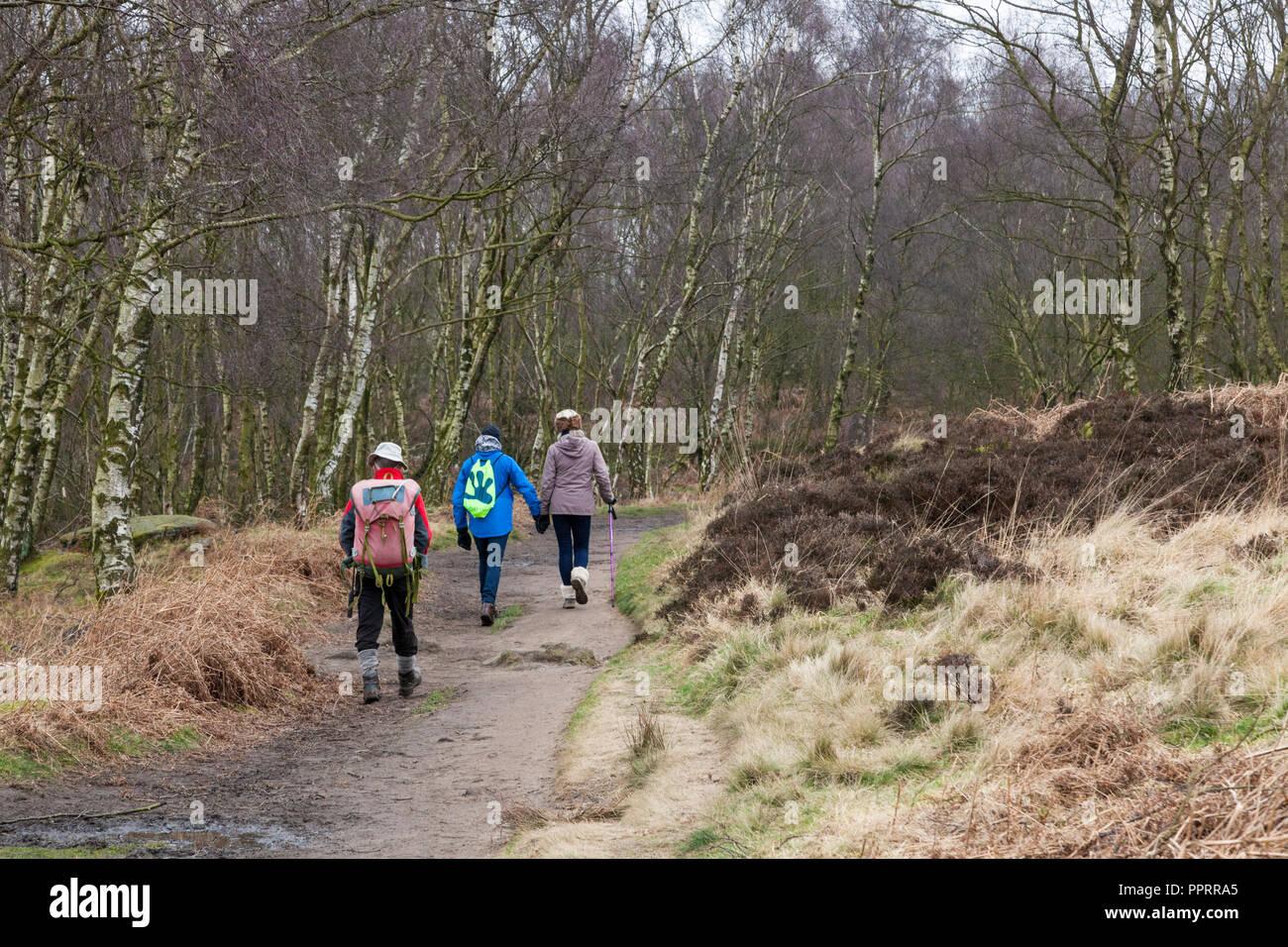 Walkers in Winter walking by woodland on Froggatt Edge, Derbyshire, Peak District, England, UK - Stock Image