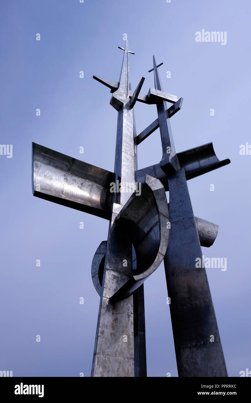 View of the 25 meters high steel units Three Masts monument in memory of people who died at sea, created by Wawrzyniec Samp (1980 ) in the seaport of Gdynia in Gdansk Bay northern Poland Poland Stock Photo