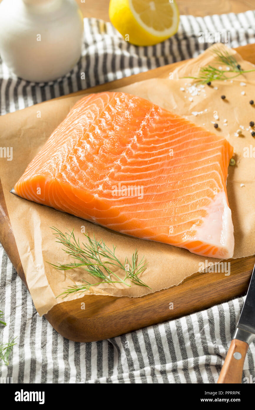 Raw Organic Atlantic Salmon Fillet Ready To Cook Stock Photo