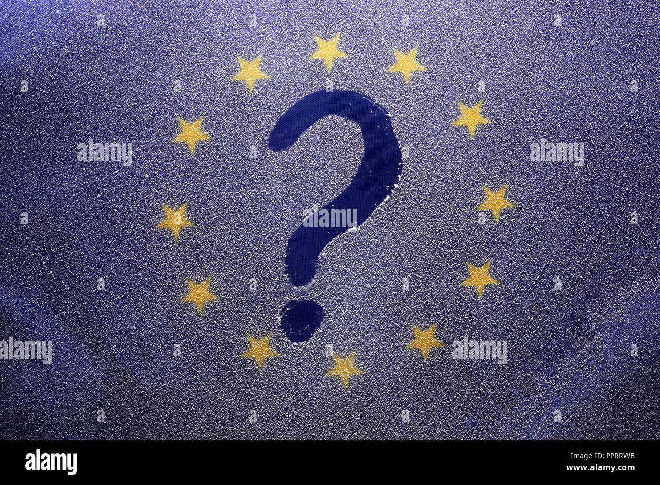 The flag of the European Union is buried in a snowdrift. - Stock Image
