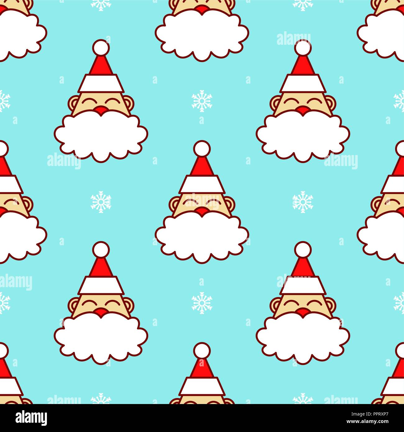 Christmas Backgrounds Cute.Santa Claus Head In Snow Seamless Pattern This Cute Pattern
