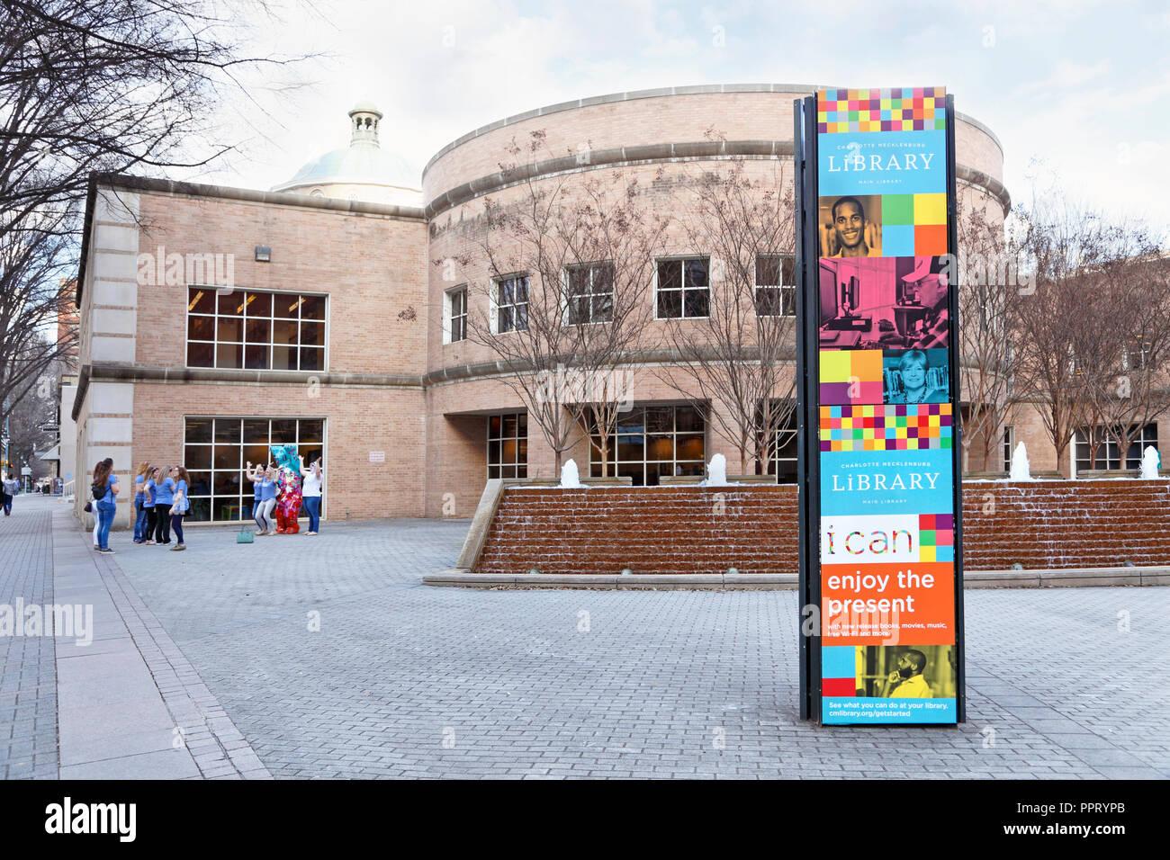 Charlotte North Carolina. Charlotte Mecklenburg Library downtown. Stock Photo